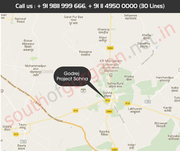 Location Map - Godrej Properties Sohna sector 33